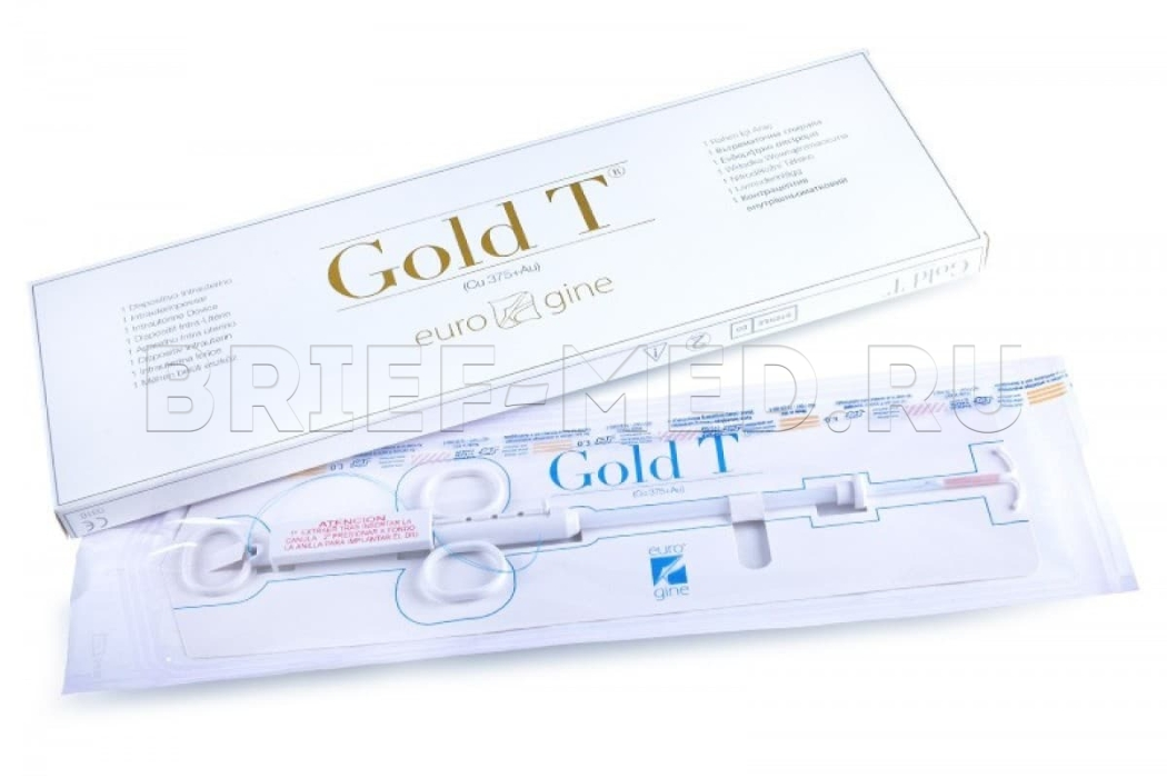Т-образная внутриматочная спираль Eurogine Gold T (Cu 375+Au)
